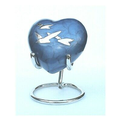 Mini Heart Keepsake Urn For Ashes Small Cremation Memorial Urn Blue Box Stand