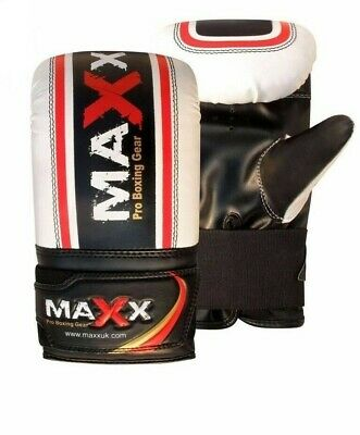 Maxx Pro Gel Pro Bag Mitts Boxing Gloves Grappling Punch MMA UFC MUAY WHT/RD/BLK