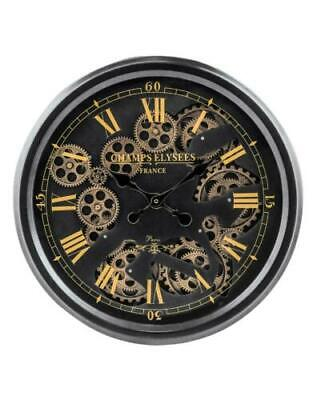 Vintage Style Gold & Black Moving Gears Skeleton Wall Clock Roman Numerals 52 cm