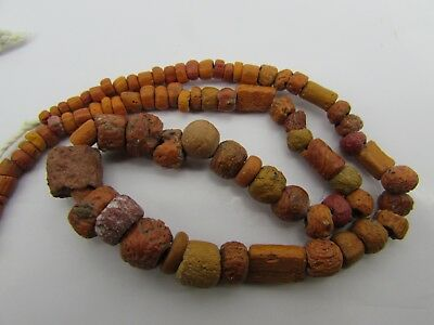 Ancient Roman Glass rare tiny beads string of tan color or brown yellow color