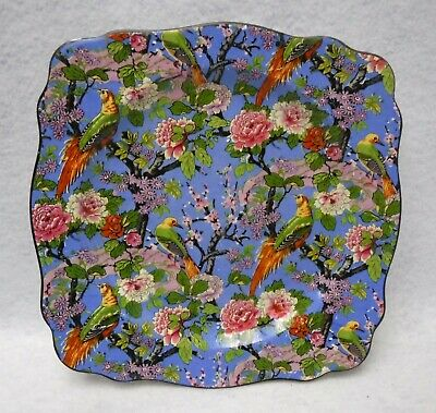 """CROWN DUCAL china BLUE CHINTZ 1185 pattern Square Luncheon Salad Plate 8-3/8"""""""