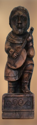 Antique Large Wooden Hand Carved Figure The Minstrel