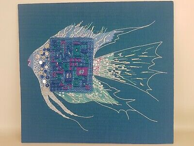 Vintage textile art embroidery sewing craft fish blue 1960s needlepoint retro