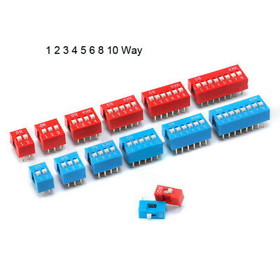 DIP DIL Switch PCB 1 2 3 4 5 6 8 10 Way 2.54mm Blue Red Toggle Switches 3~50Pcs