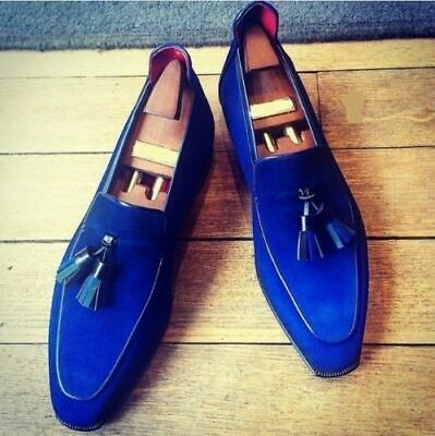 8ed435ab60bbc Mens Handmade Shoes Royal Blue Loafer Suede Party Formal Dress Casual Wear  Boots