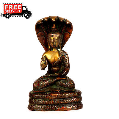 1900'S Indian Antique Hand Casted Crafted Brass Lord Buddha Figurine Statue 1861