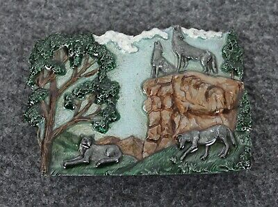 Vintage 80's 1986 3D Gray Wolf Pack Nature Ultra Ent Belt Buckle Paula Freed