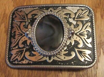 Vintage Western Belt Buckle with Black/ Gray Stone Maple Leaf Silver