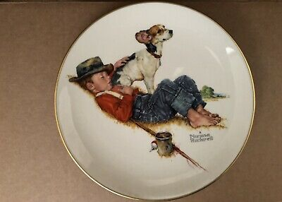 1971 Gorham China Norman Rockwell Plates a Boy and his dog Four Seasons