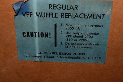 HTF NOS Jelenko Furnace Part Regular VPF Muffle Replacement For Model 2700 ONLY