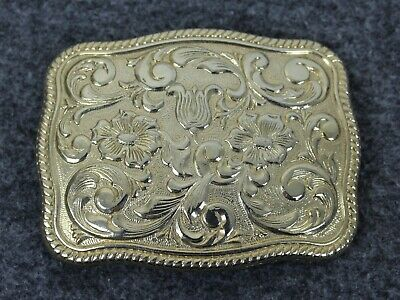 Vintage Chambers Phoenix 24K Gold Plate Western Floral Belt Buckle Made In USA