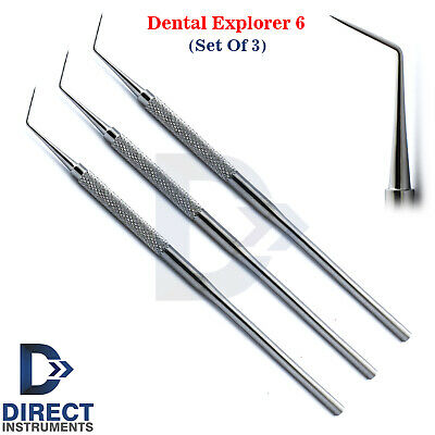 3Pcs Dental Explorer 6 Probe Single Ended Endodontic Caries Calculus Detection