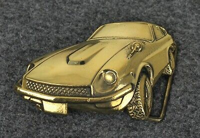 Vintage 70's 1978 Sports Car Cut Out Solid Brass Baron Belt Buckle