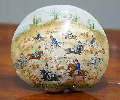 Tang Dynasty Deer Hunting 18Th Century Chinese Painted Mother Of Pearl Shell