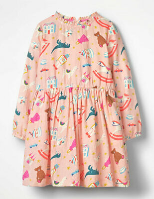Girls Printed Frill Dress Ex Mini Boden Age 2-5 Years RRP £30