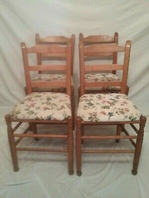 Vintage Set 4 Ladder Back Pine Dining Chairs Rustic Farm House Cottage Country