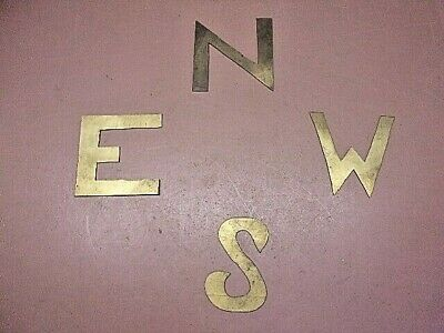 4 SOLID BRASS WEATHERVANE DIRECTIONAL LETTERS Hand Cut & Crude N -S -E -W Nice!