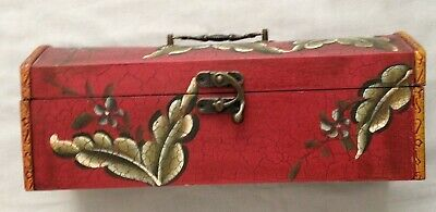 Vintage Wooden Wine Or Liquor Box Hand Painted Crackled Finish