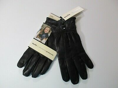NWT Trufit Fleece Lined INSULATED 100% Leather Outer Black Driving GLOVES~Size L
