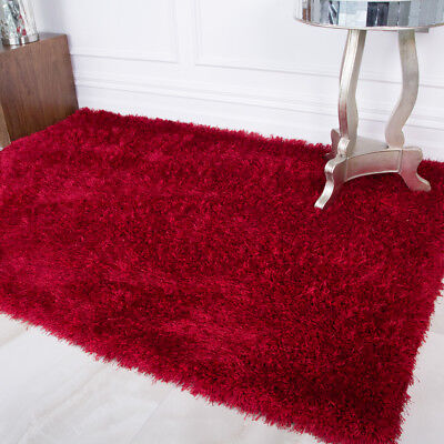 Modern Thick Luxury Red Polyester Shaggy Rug Soft Cosy Warm Living Room Rugs UK