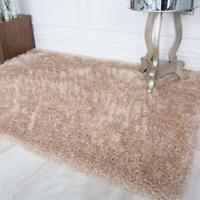 Modern Thick Pearl Natural Polyester Shaggy Rug Soft Cosy Warm Living Room Rugs