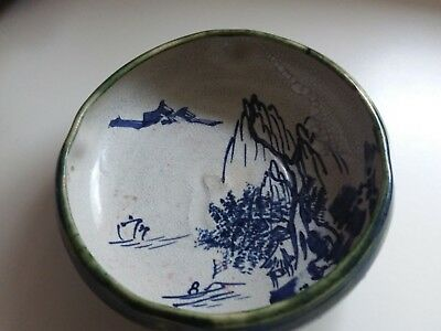 Antique Vintage Japanese Hand Glazed Pottery Bowl Hand Made - Hand Painted