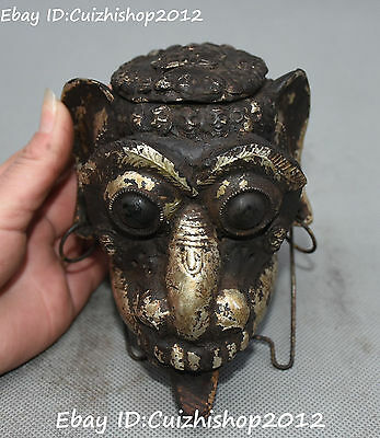 Antique Chinese Old Silver Zodiac Year Dog Beast Animal Head Bust Hanging Statue