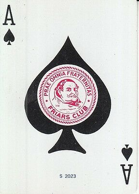 1 Single Wide Vintage Swap Playing Card FRIARS CLUB ACE OF SPADES SPADE ACES