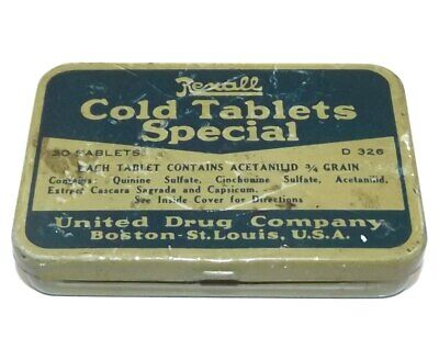 Vintage Rexall Cold Tablets Special United Drug Company Advertising Tin Pill Box