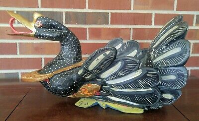 """Antique Vintage Asian Chinese Carved Painted Hissing Goose Folk Art Bowl 20"""""""