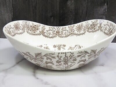 T & R BOOTE BURSLEY ENGLAND Crescent Oval Bowl LAHORE IRONSTONE 1880's Brown