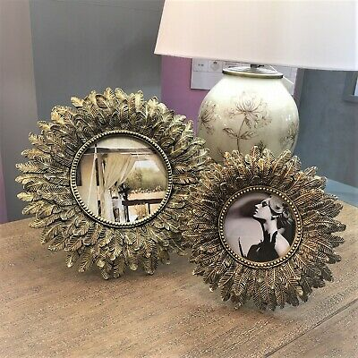 Round Antique Gold Feather Photo Frame with burnished antique finish 23 cm