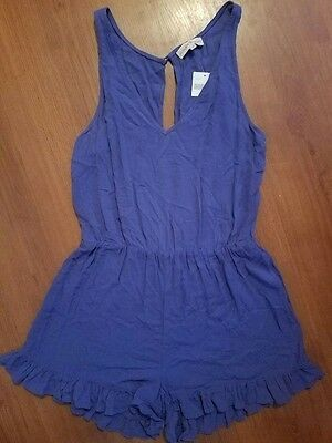NWT ALTAR'D STATE Purple Shorts Sleeveless Romper Jumper Large Vneck Open Back