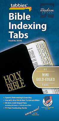 80Tabs Including64Books Bible mini gold tabbies edged indexing old&NeW testament