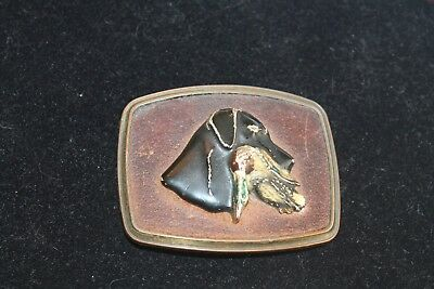 Vintage 1979 Dog and Duck Hunting Brass Belt Buckle