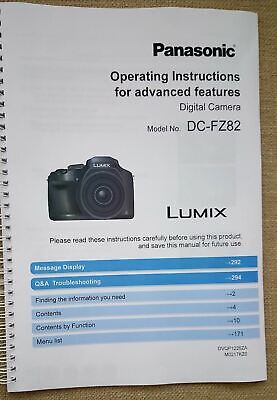 PRINTED Panasonic Lumix FZ82 User guide Instruction manual Colour Manual A4/A5