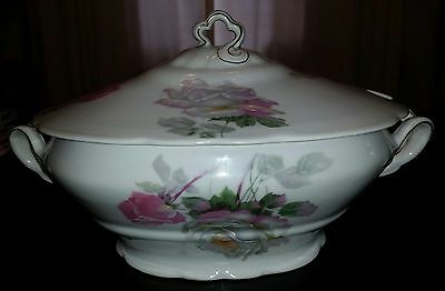 FRIEDRICH KAESTNER Germany Porcelain China Soup Tureen w/ Lid Gray Pink Roses