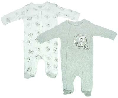 Boys Sleepsuit 2 Value Pack Bear Moon & Stars Rompers Newborn Baby to 9 Months