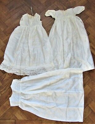 Antique Christening Gown Gowns 3 Pure Silk Ivory Baby Dress Vintage Wedding doll