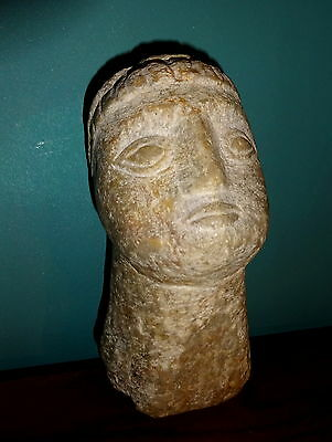Carved Marble Head of Youth Sculpture Effigy