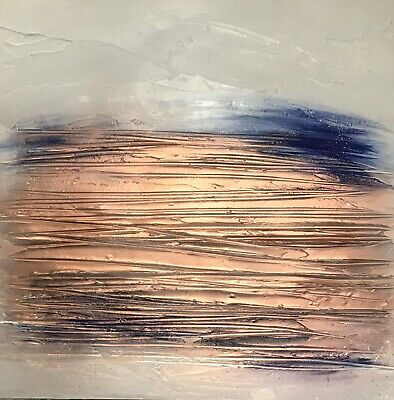 SALE! Original Textured Contemporary Abstract wall art canvas in Navy & Copper