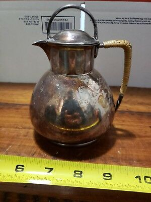 Vintage LBS CO 1866 Silver Plate tea pot pitcher Lawrence B Smith Wicker Handle
