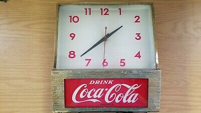 Vintage Coca-cola Lighted Wall Clock *Works *Light Works Union Made