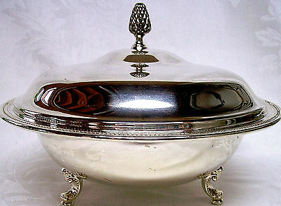 Oneida Silverplate Three Footed Covered Casserole Dish