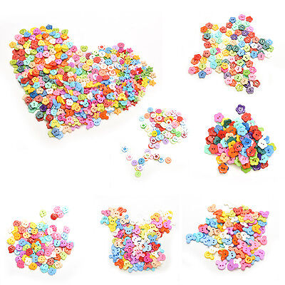 100 Pcs/lot Plastic Buttons Sewing DIY Craft decals for Children 6 Shapes BLUS