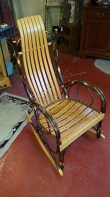 Vintage Davis And Wentz Hickory And Maple Bentwood Rocking Chair