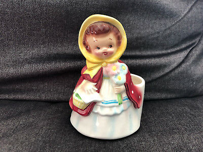 Gorgeous LITTLE RED RIDING HOOD Planter Figurine MADE IN JAPAN hand painted
