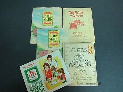 Vintage Top Value Stamps and S&H Green Stamps Quick Saver Books with Stamps