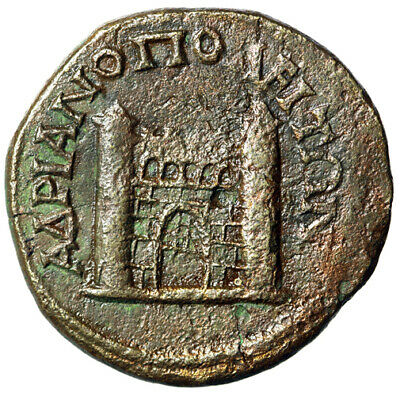 "Gordian III AE26 ""City Gate, Two Towers, Rear Wall Visible"" Hadrianopolis Thrace"