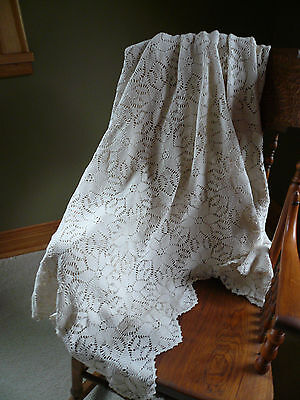 Vtg Cotton Lace Crochet Bedspread Bed Topper Coverlet 75x87 Crocheted Tablecloth